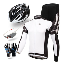 XINTOWN Men 2016 White Ciclismo Riding Cycling Bicycle Bike Clothing helmet glasses gloves Full Sleeve Jersey