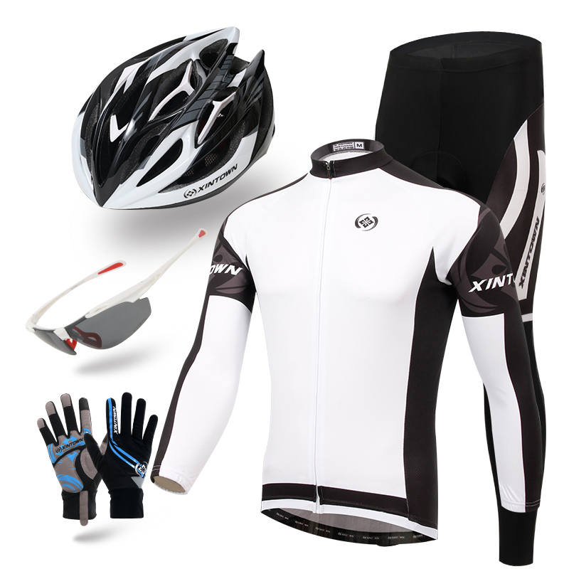 XINTOWN Men 2016 White Ciclismo Riding Cycling Bicycle Bike Clothing helmet glasses gloves Full Sleeve Jersey set