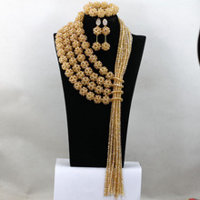 New Arrival!Luxury Europe Exaggerate Gold Beads Elegant Lady Big Chunky Statement Wedding Beads Necklace Set For Women QW046