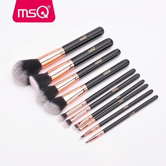 MSQ 10pcs Rose Gold/Balck Professional Makeup Brush Set Powder Foundation Concealer Cheek Shader Make Up Tools Kit 1