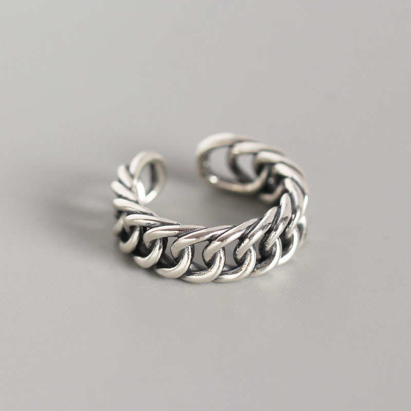 Retro Punk 6.8mm Authentic S925 Sterling Silver FINE Jewelry Open Twist CABLE Chain Band Ring Adjust TLJ672