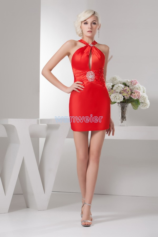 free shipping 2016 new design fvictorian   dresses   ashion real image beading halter short sexy red custom size/color   Prom     Dresses