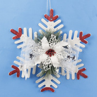 2PCS White Artificial Snowflake Christmas Tree Decorations Holiday Festival Party Home Tree Snowflakes Pendant Ornaments