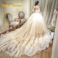 Vinca Sunny 2017 Vestido De Novialace Applique Wedding Dresses Champagne Cathedral Train Bridal Gowns Robe De