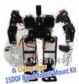1 conjunto de 15 DOF Biped do Robô Educacional Com Alumínio Grampo Garra Mount Kit Suporte de Servo Para Arduino Caminhada Dança promoção