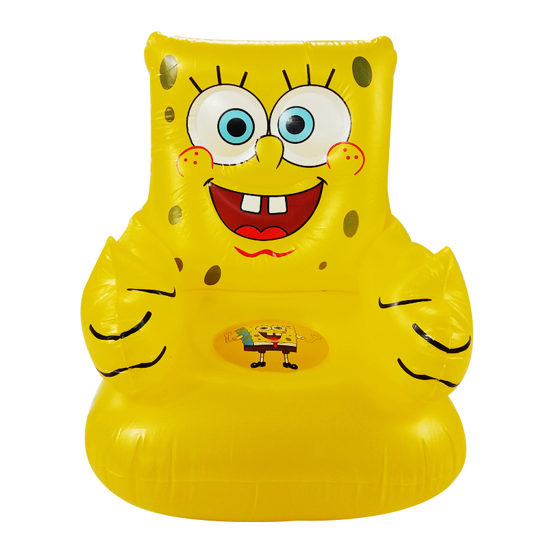 For Kid 1-6 Years Old Cute Portable Cartoon Sponge Bob Children's Toy Chairs Lovely Inflatable Sofa Kids' PVC Chairs Baby Seats