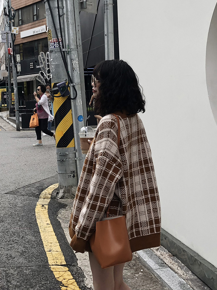 Femme kaki Longues Cardigan Rétro Marron coréen Lâche Automne Nouvelle À Tricot Chandail Manches Plaid 2018 01n6wqpI