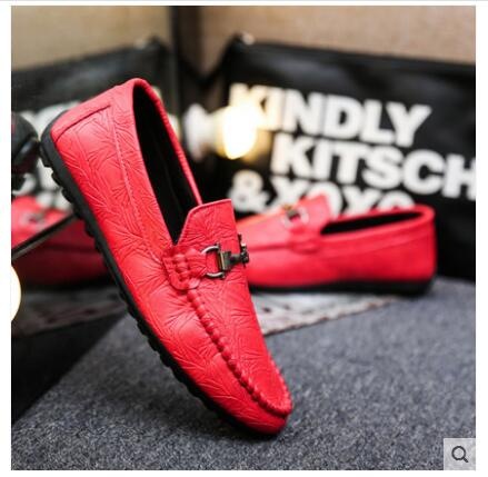 Men's Shoes Bjyl Summer Peas Shoes Mens One-legged Lazy Wild Spirit Social Guy Quick Red Man British Mens Shoes