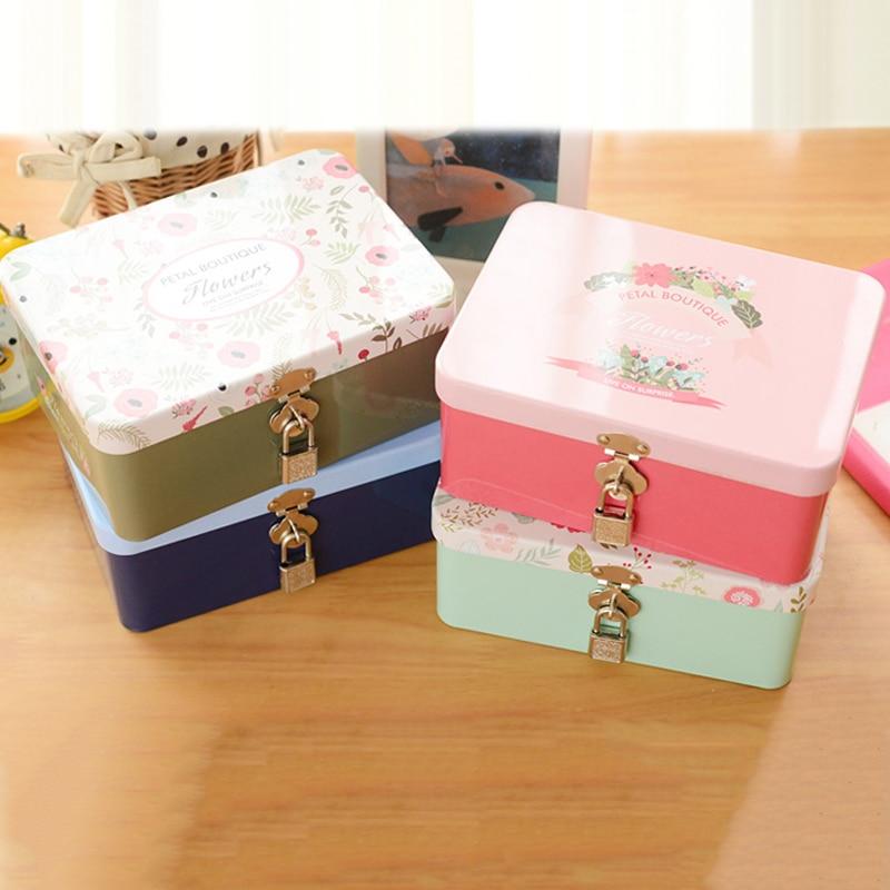buy tin box lockable small storage box cosmetics jewelry desktop storage box iron with lock password case sundries box from reliable tin