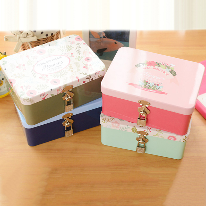 Tin box lockable small storage box cosmetics jewelry desktop storage box Iron with lock  ...