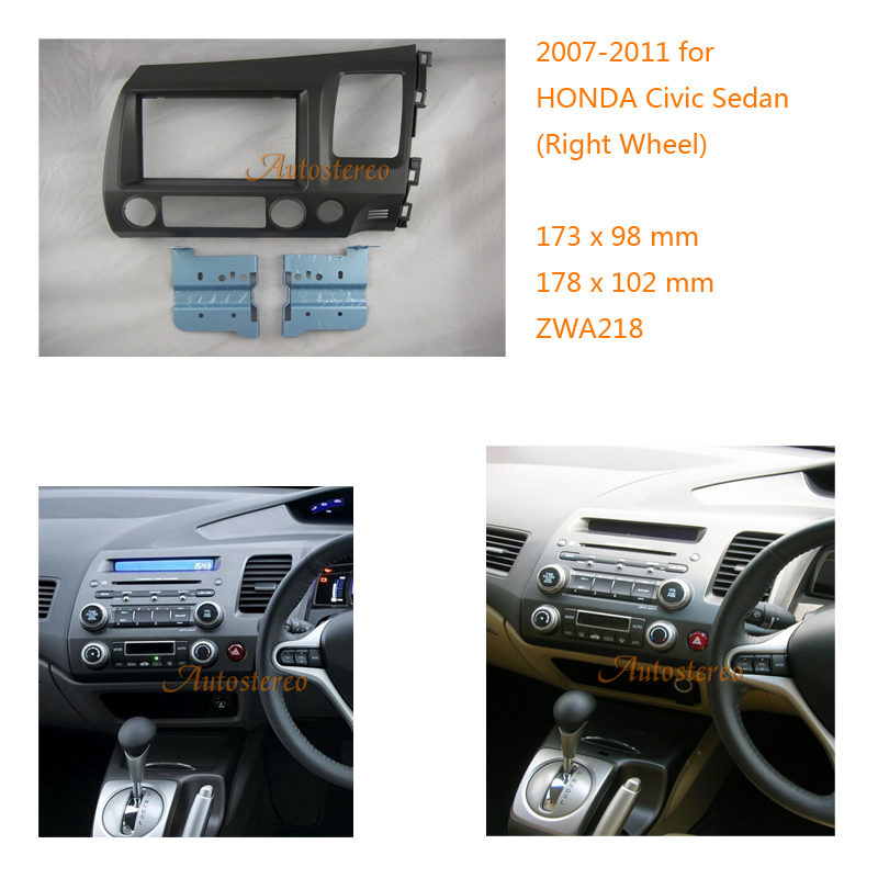 Autostereo Car Radio Fascia for Honda Civic Sedan Stereo Dash Kit Installation CD Trim Facia Face Plate Panel DVD Frame car radio dvd cd fascia panel for faw oley 2012 stereo dash facia trim surround cd installation kit