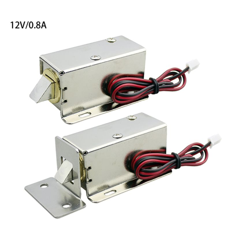 DC12V 0.8A Metal Electric Magnetic Lock Solenoid Door Storage Cabinet Bolt Drawer File Electronic Lock Access Control Accessorie