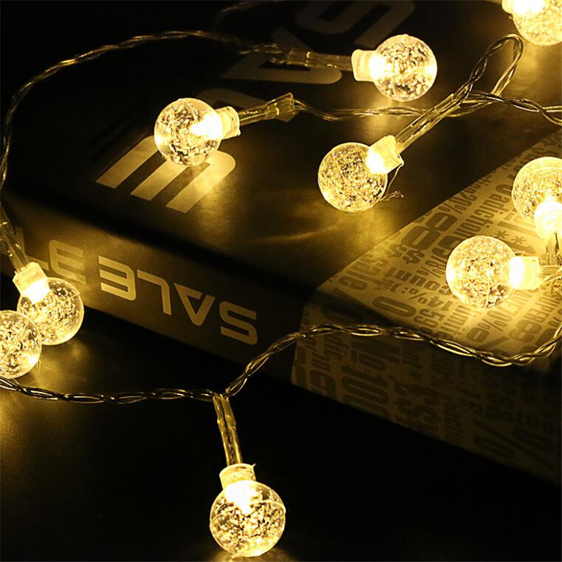 Perfect 220V EU Plug 4M Crystal Bubble Ball 20Led String lights For holiday Christmas Festival Party Fairy Xmas woodpow 3m 20led cotton ball string lights multicolor fairy light eu 220v ac