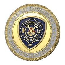 Вся поставка золотое покрытие город луизвиля пожарный отдел наградная монета/медаль 1344