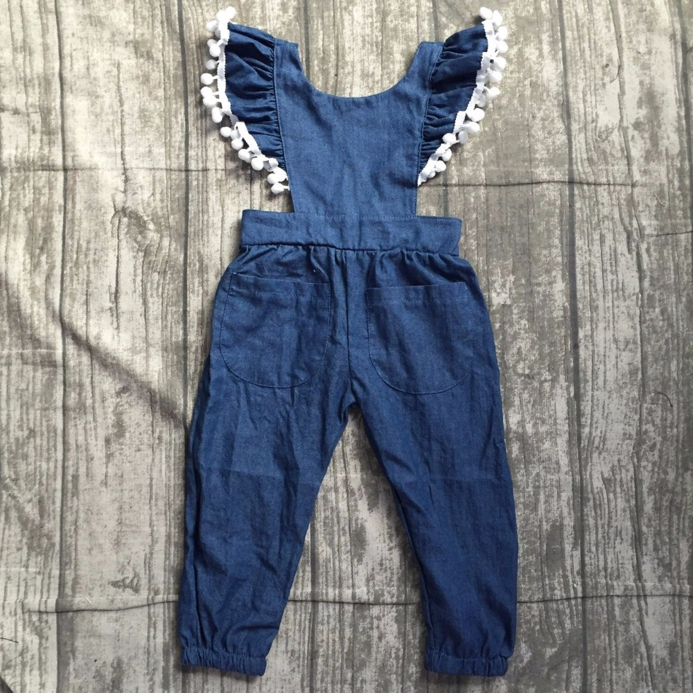 baby girls infant toddler jumpsuits clothing Baby Girls Fashion Denim Romper Jumpsuit children Backless Romper Jumpsuit outfits db7191 dave bella summer baby girls newborn infant toddler jumpsuits children short sleeve printing clothing baby romper
