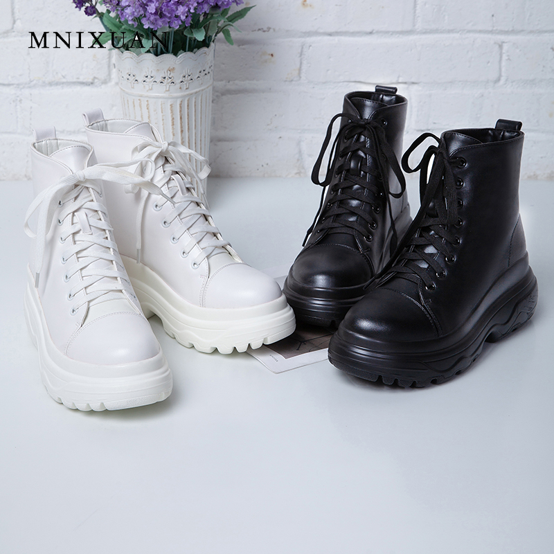 MNIXUAN ankle boots for women shoes 2018 winter new PU lace ep warm short plush martin boots flat platform motorcycle boot black 2018 new autunm winter ankle short women boots flat heel lace up single martin boots shoes push warm flat shoes ladies zk 3 5