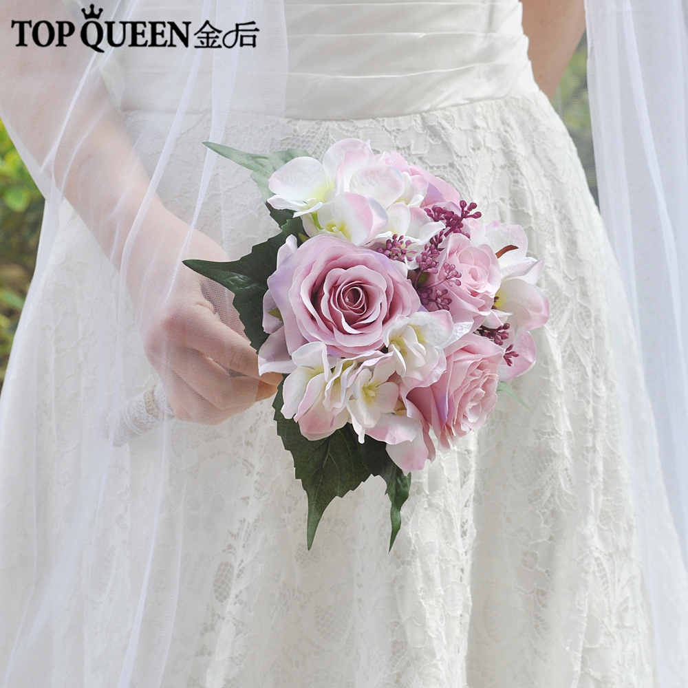 Romantic Wedding Bouquets: TOPQUEEN F17 Wedding Bouquet Bridal Holding Flowers Pink