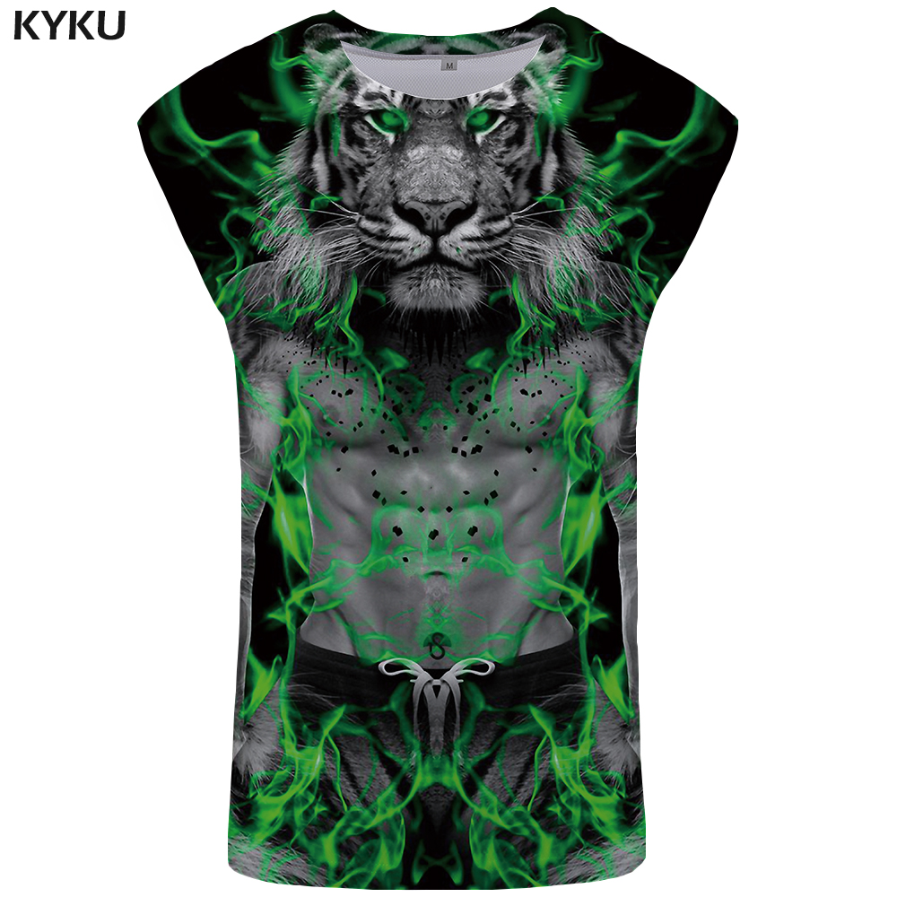 KYKU Tiger   Tank     Top   Men Animal Vest Funny Undershirt Strong Ftness Mens Clothing Stringer Singlet Sleeveless Shirt Summer Casual