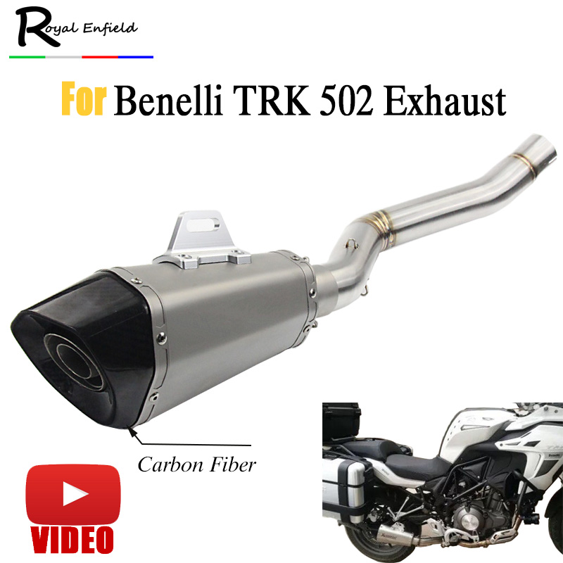TRK502 Motorcycle Full System Exhaust Mid Link Pipe Motorbike Laser Marking For Benelli  ...