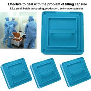 Image 4 - Máquina para fabricar polvos y cápsulas con 4 tipos de 100 agujeros, n. ° #1 #0 00, placas esparcidoras, cápsulas para rellenar Manual, herramienta azul