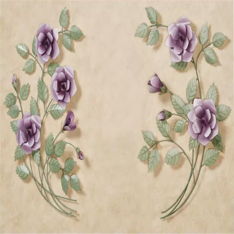 3d three dimensional purple rose background wall professional production mural high grade wall covering wallpaper in Fabric Textile Wallcoverings from Home Improvement