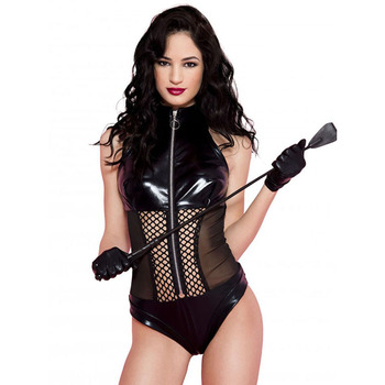Black Wet Look Fishnet Panel Bodysuit Zipper PVC Shiny