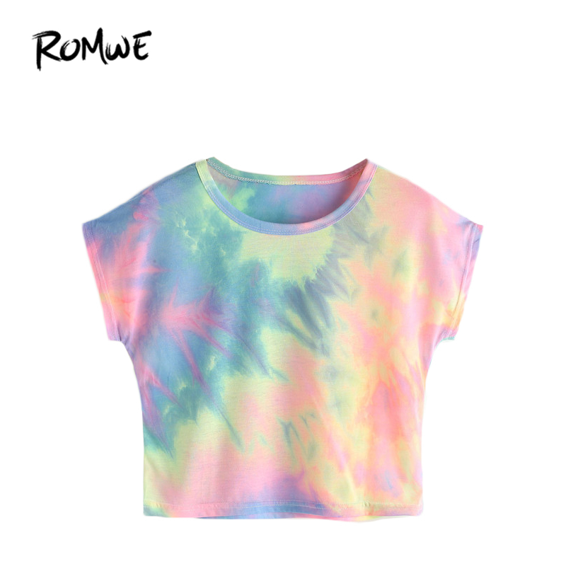ROMWE Summer Crop Tops Women 2018 Dolman Sleeve Watercolor Tee Multicolor Tie Dye Print Short Sleeve Casual T-shirt