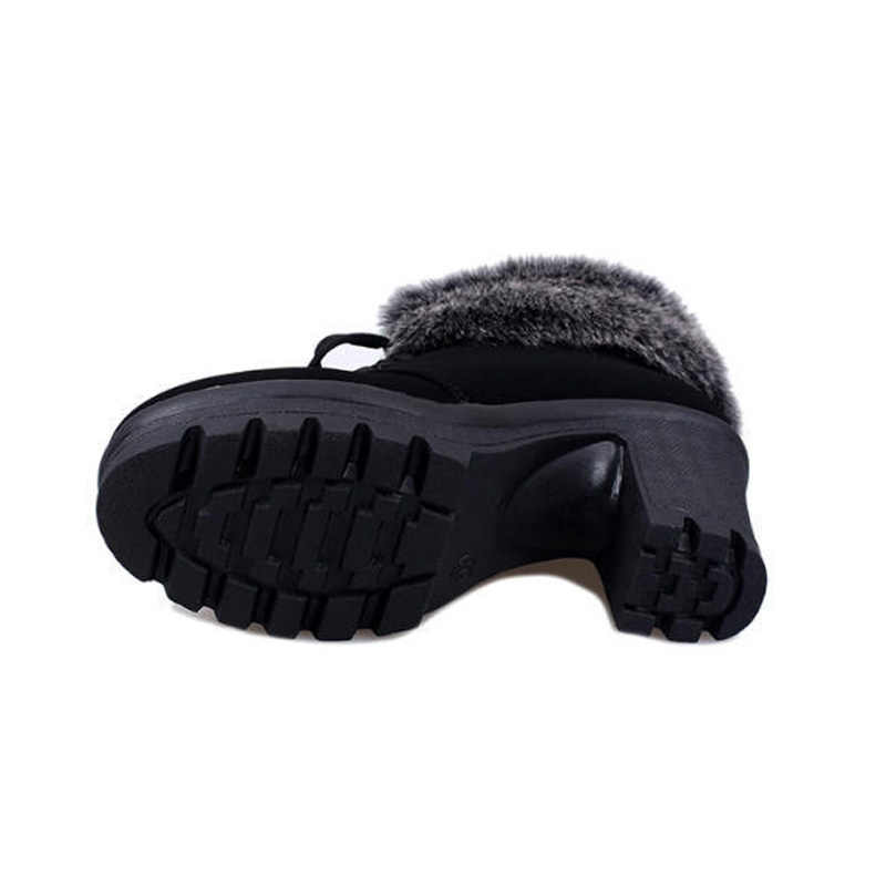 Tinggi Tumit Sepatu Musim Dingin Wanita Sepatu Bot Musim Dingin Fashion Wanita Sepatu Hak Tinggi Mewah Hangat Bulu Wanita Merek Pergelangan Kaki pasang Kaos YX328