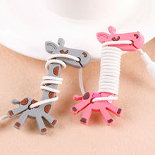 10pcs Cartoon Giraffe Earphone Headphone Cable Roller Cord Organizer Wrap Winder