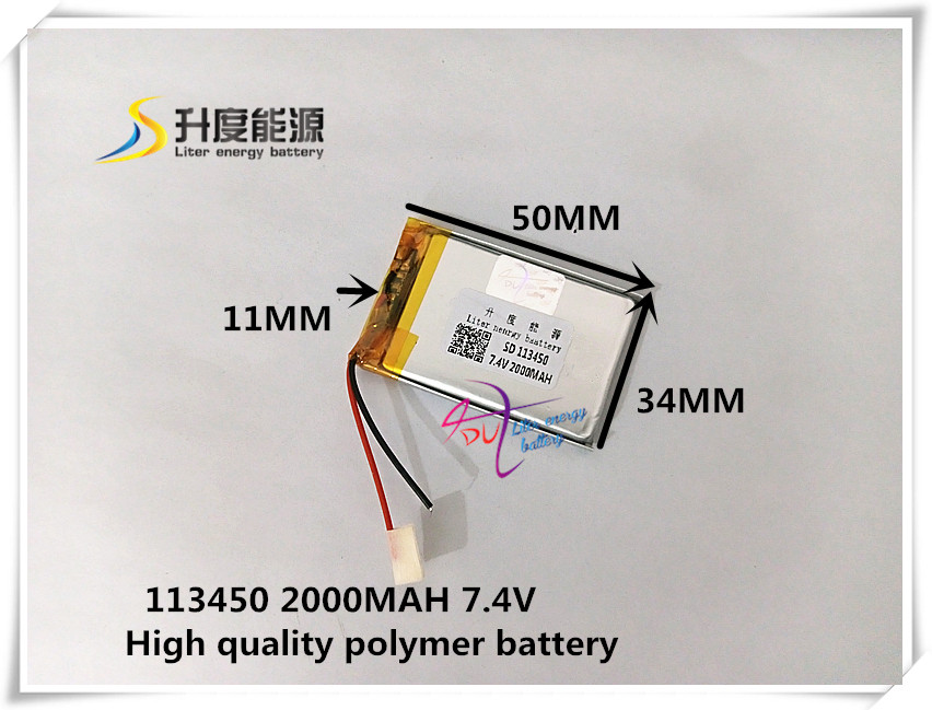 7.4V 2000mAH 113450 polymer lithium ion / Li-ion battery for MP3 tablet pc power bank mp4 cell phone speaker