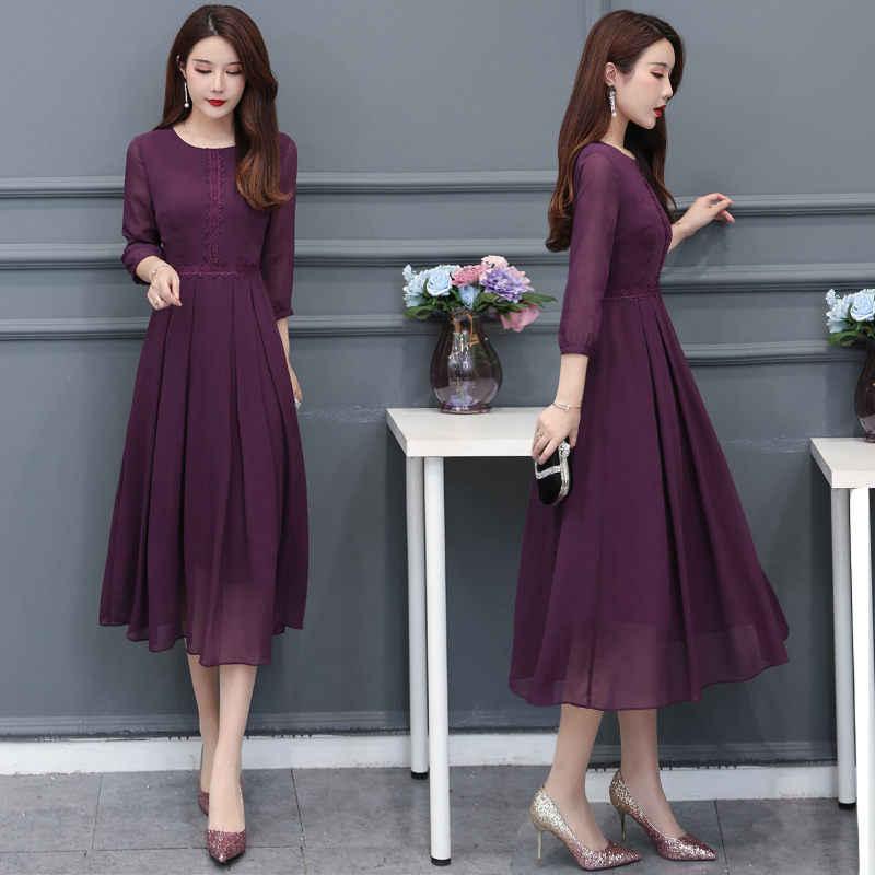 Летнее элегантное женское платье в стиле ретро, фиолетовое шифоновое платье с круглым вырезом и рукавом три четверти, женское пляжное длинное платье Vestidos