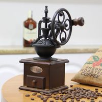 Manual Coffee Grinder Vintage Retro Style Wooden Mill Grinding Ferris Wheel Design Hand Maker Machine Kitchen Tools