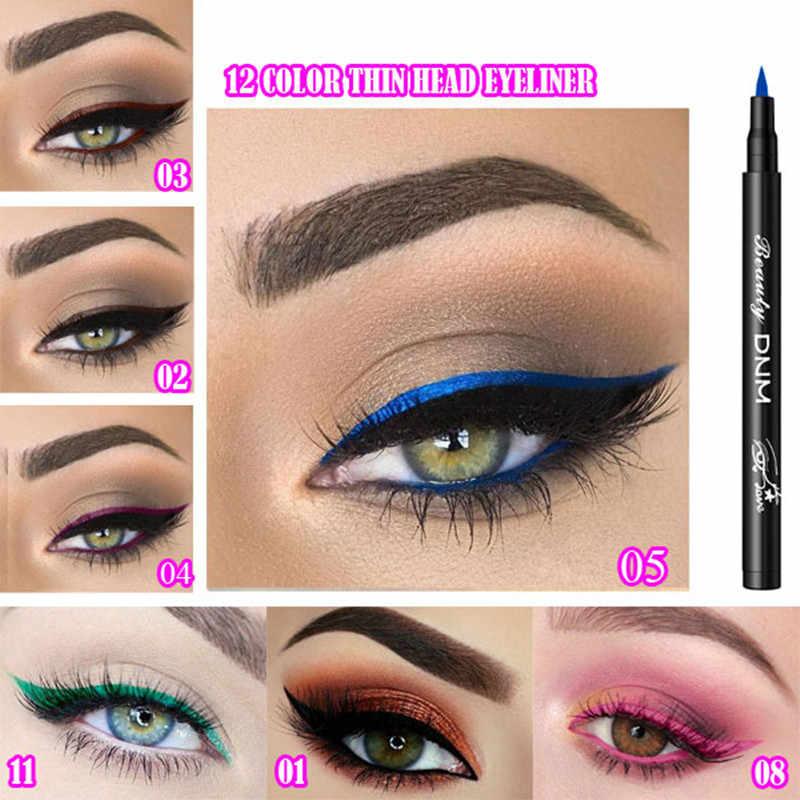 1 pc à prova dwaterproof água colorido lápis delineador líquido rápido seco longa duração fina cabeça olho forro caneta maquiagem ferramentas preto/azul/vermelho/marrom