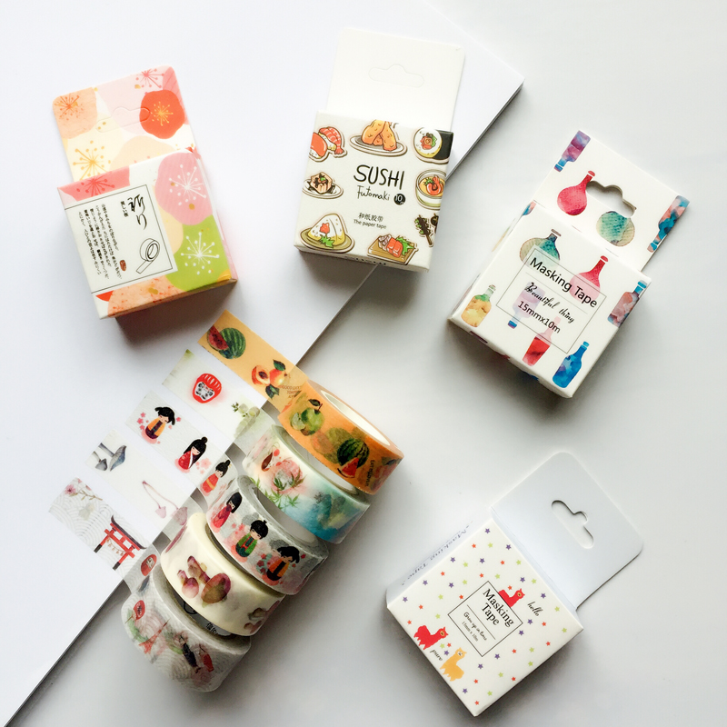 S35 Japanese Paper Washi Tape Adhesive Masking Tape DIY Scrapbooking Stick Label Stationery Decorative Tape