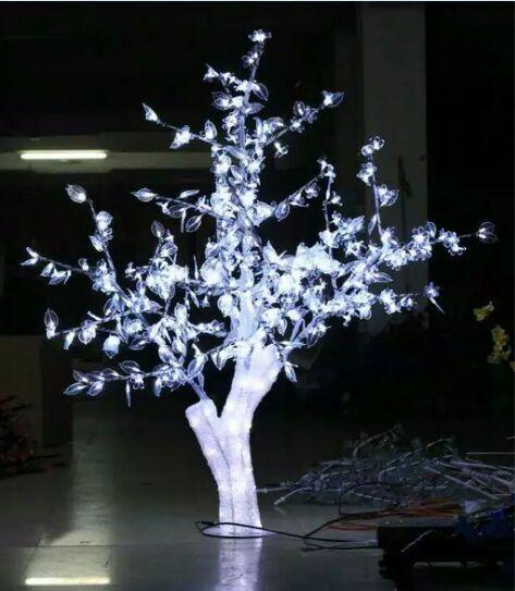 1.5M 5FT LED Karácsonyi újévi könnyű kristály cseresznyevirág fa fehér levelekkel szabadban