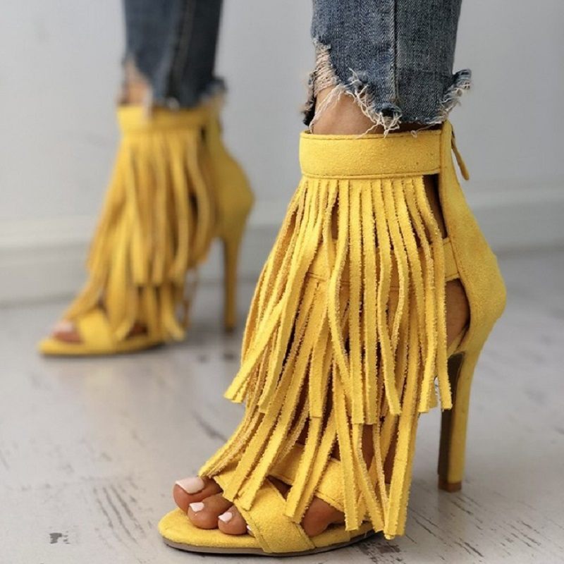 Stiletto Sandals Tassels Ladies Shoes Open-Toe High-Heels Yellow Sexy Summer Women Big-Size