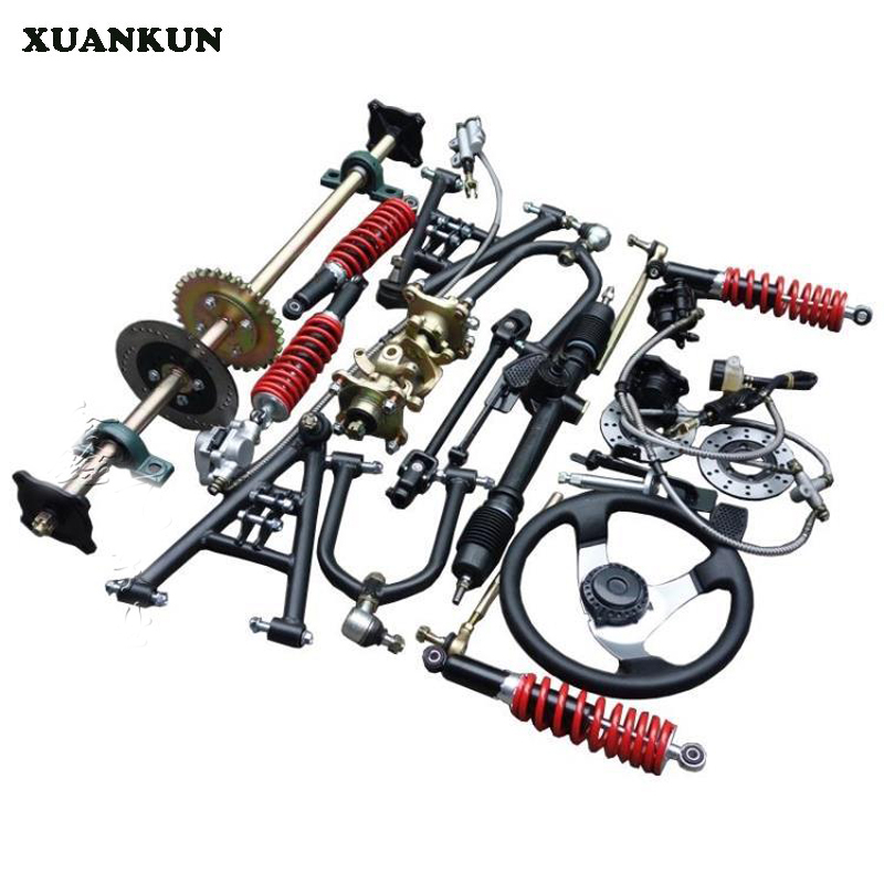 XUANKUN Beach Car Accessories A Drag Three Brake Front Axle Four Wheel Electric Car Front And Rear Suspension Steering Rear Axle xuankun modified four wheel electric motorcycle self made karting accessories front suspension rocker steering brake system