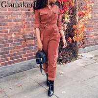Glamaker Corduroy long sleeve sexy jumpsuit Women bodycon causal long jumpsuits & rompers Winter sashes jumpsuit female overalls