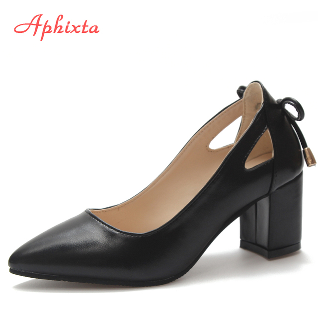Aphixta Shoes Women Square Heel High Pumps Pointed Toe Wedding Party Derss Shoes Patent Leather Suede arge Size 44 Classic Pumps