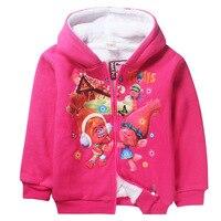 2017 Hot Sale Winter Children Girl Jackets Cartoon Trolls Girls Winter Coat Kids Outerwear Baby Girls