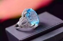 Natural blue topaz gem Ring Natural gemstone ring 925 sterling silver trendy Elegant big Crown women girl party fine Jewelry
