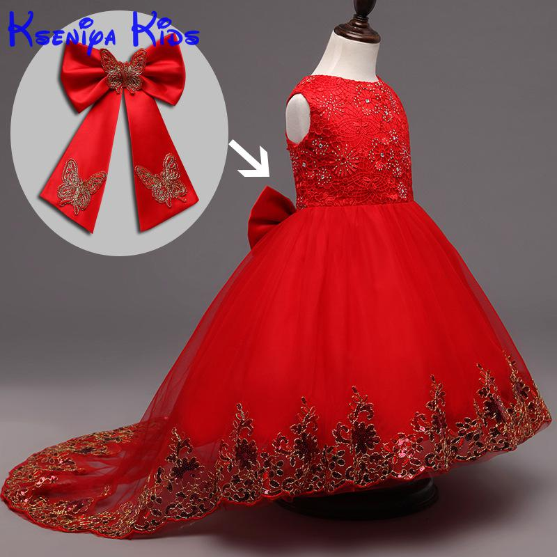 New 2017 Baby Bridesmaid Flower Girl Wedding Dress Ball Gown Birthday Evening Prom Cloth Party Dress Festival Girls Flower Dress kids girls bridesmaid wedding toddler baby girl princess dress sleeveless sequin flower prom party ball gown formal party xd24 c