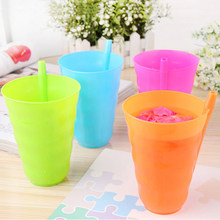 Kids Children Infant Baby Sip Cup with Built in Straw Mug Drink Home Cup Orange/Blue/Green/Hot Pink(China)