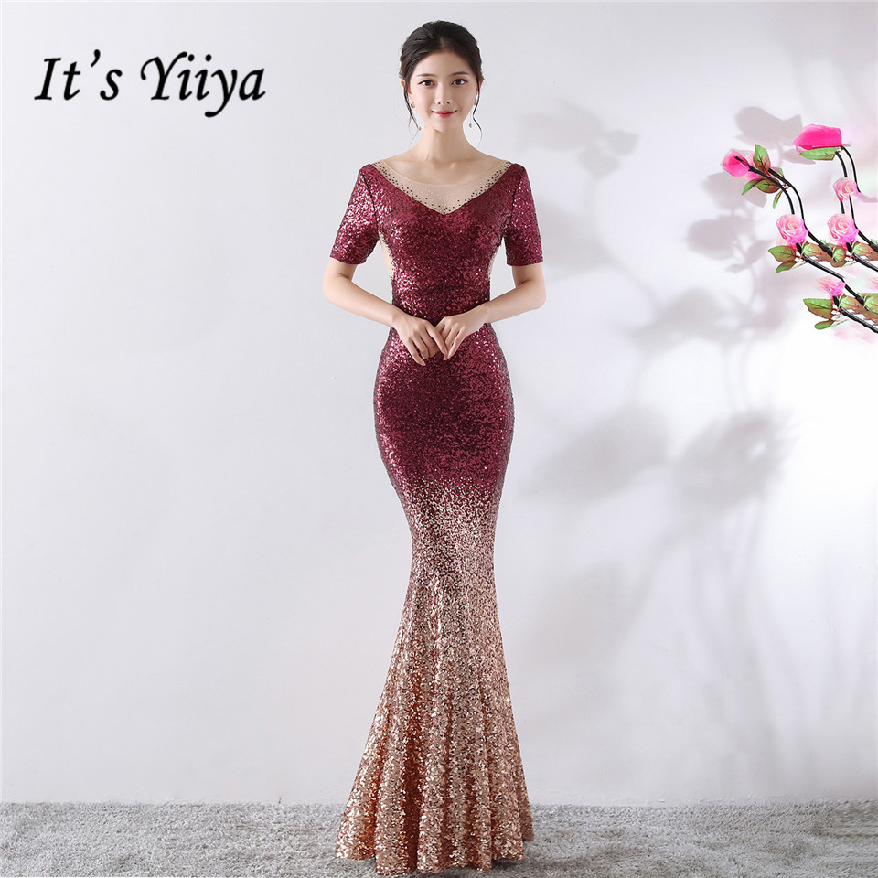 It's Yiiya Evening dresses V-neck Sequined Zipper back Mermaid Party Gowns Royal Crystal Floor-length Trumpet Prom dress C166