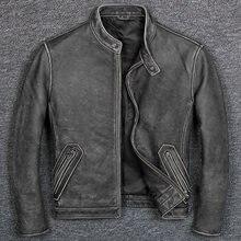 Chaqueta de cuero vacuno estilo clásico e informal para hombre, ropa de piel auténtica 100%, abrigo de piel de motociclista de calidad vintage, envío gratis