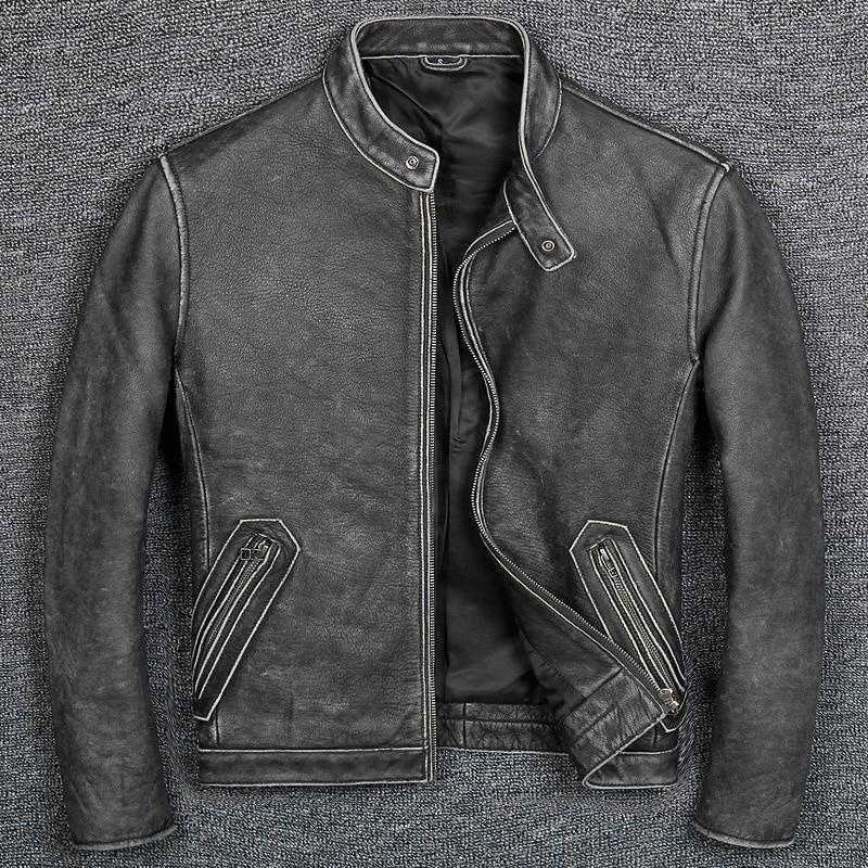 จัดส่งฟรี. plus ขนาดแบรนด์คลาสสิกสไตล์ cowhide jacket,mens 100% ของแท้หนังแจ็คเก็ต biker vintage คุณภาพ coat ขาย-ใน เสื้อโค้ทหนังแท้ จาก เสื้อผ้าผู้ชาย บน   3