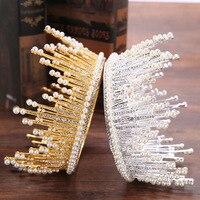 Pearl Round Wedding Tiara Bride Hair Ornaments Luxurious Rhinestone Large Bridal Tiara Crown Wedding Hair Jewelry Accessories