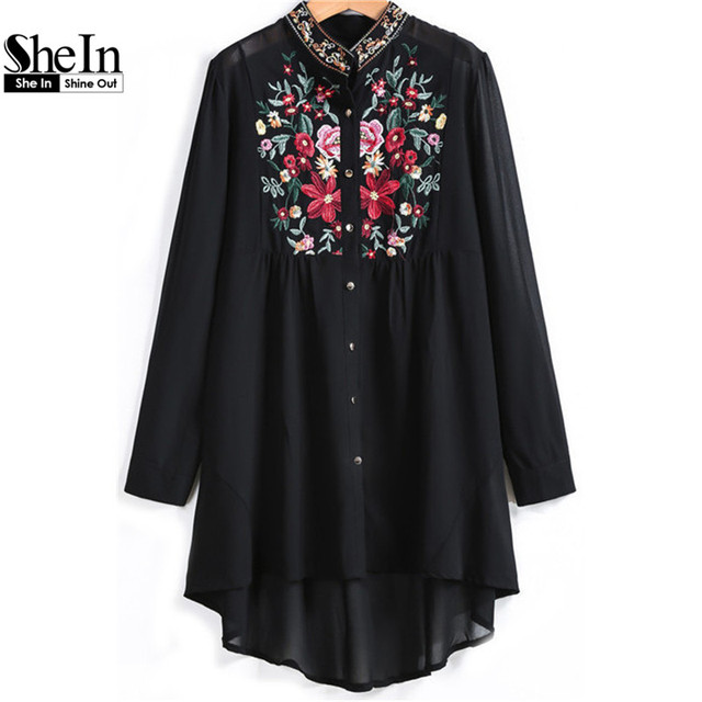 230fb89dd8 SheIn Women Tops Fashion Stand Collar Long Sleeve Floral Embroidered Dipped  Hem European Brand Spring Black