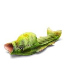 Новый уникальный дизайн пряный форме рыбы сандалии зеленого цвета мужские рыба модель Вьетнамки горячей вкус мальчиков рыбы тапочки Размер 35 -44
