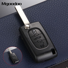 Mgoodoo 3 Buttons Flip Folding Remote Entry Key Shell Case For Peugeot 207 307 308 407 607 Replacement Car Fob Cover